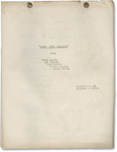 Universal City: Universal Pictures, 1937. Post-production Continuity and Dialogue script for the 193...
