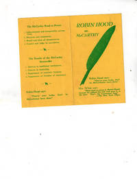ROBIN HOOD Vs. McCarthy Pamphlet ( Green Feather Movement  )  (Order of Robin Hood )