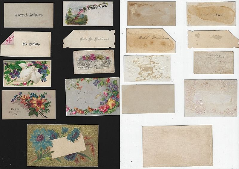 LOT OF NINE SCRAP VICTORIAN TRADE CARDS AND CALLING CARDS FEATURING FLOWERS, Advertisement