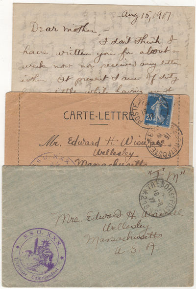 , 1917. Unbound. Very good. Two letters sent on consecutive days by Wiswall to his family in Wellesl...