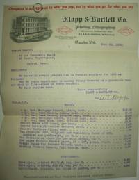 Klopp and Bartlett Printing, Lithography and Office Stationery Company Bid Letter, with envelope