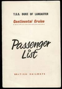 T.S.S. Duke of Lancaster Continental Cruise Passenger List 17th June 1959