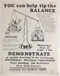 You can help tip the balance... Demonstrate at public hearings of the California Industrial Welfare Commission [handbill]