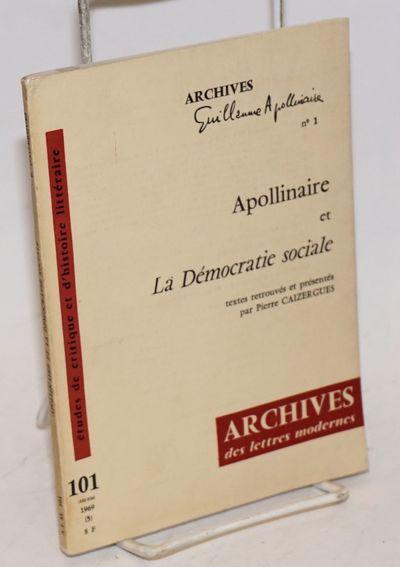 Paris: Archives des Lettres Modernes, 1969. Paperback. 77p., small softback in 7x5 inch plain printe...