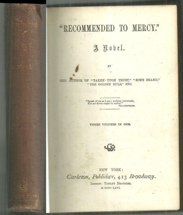 Image for RECOMMENDED TO MERCY A Novel