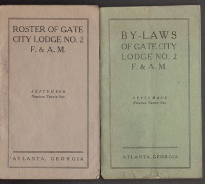 Atlanta: Gate City Lodge, 1921. First Edition. Wraps. Good. Stapled soft cover pocket guides. The