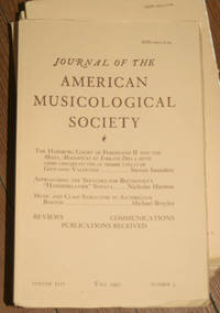 Journal of the American Musicological Society. Volume XLIV Fall 1991, Number 3