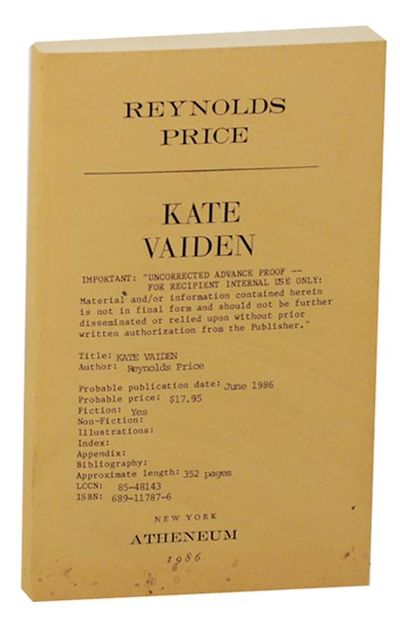 New York: Atheneum, 1986. First edition. Softcover. Uncorrected proof. A novel set in the American s...