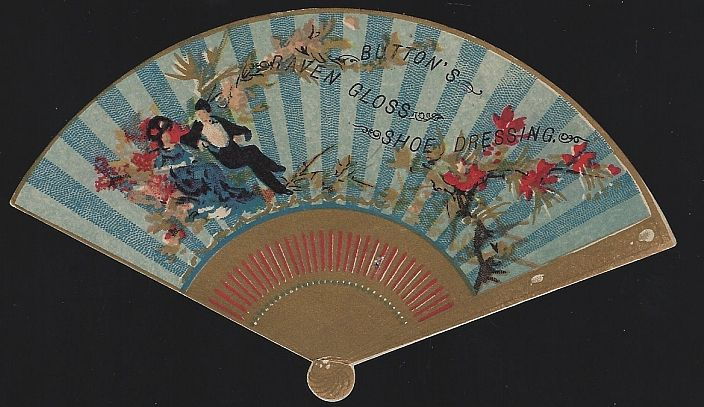 VICTORIAN DIE CUT FAN TRADE CARD FOR BUTTON'S SHOE DRESSING TRADE CARD WITH MAN AND WOMEN SURROUNDED BY FLOWERS, Advertisement