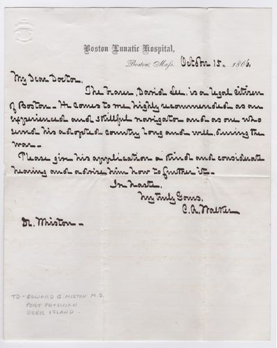 Letter dated October 15, 1866, on stationery of Boston Lunatic Hospital, by Superintendent Walker. O...