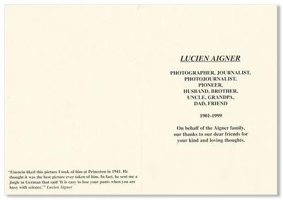 N.p., 1999. Unfolded photo-illustrated bifolium (15.5x23cm.); Fine condition. Memorial card issued b...