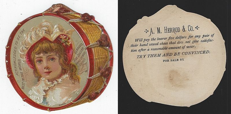 VICTORIAN DIE CUT DRUM TRADE CARD FOR HERROD'S SHOES, Advertisement