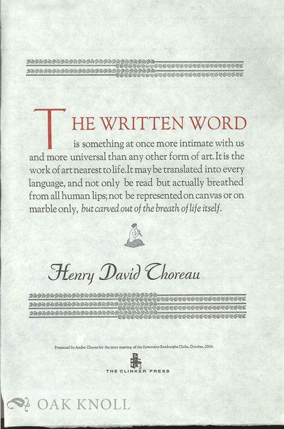 n.p. (but Pasadena, CA): Clinker Press, The, 2004. broadside. Clinker Press, The. folio. broadside. ...