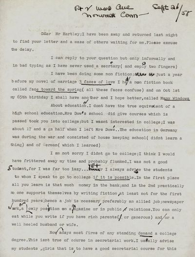 1958. BALDWIN, Faith. Typed Letter Signed. Two pages on both sides of a single sheet; hand-written i...