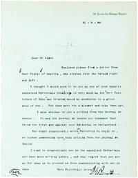 Rare Letter by James Gordon Bennett Who Sent Stanley in Search of Livingstone