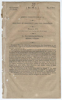 [drop-title] Amend Constitution U.S. Election of President and Vice President. March 2, 1832. Read, and postponed until Tuesday next, 6th of March. Mr. Root submitted the following resolutions:.