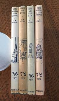 SET OF WINNIE THE POOH FIRST EDITIONS. 4 Volumes. -- When We were very young. -- Winnie the Pooh. -- Now We are Six. -- The House at Pooh Corner.