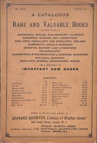 Cat. 414/1928:  A catalogue of rare and valuable books including works on  Americana, Bibles, Bibliography, Classics, European History and  Literature, Fine Arts, Genealogy and Heraldry, Ireland, Numismatica,  Occult Sciences, Oriental History and Literature
