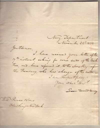 Washington DC: n.p., 1832. Letter. Very good. Letter dated November 22d, 1832. Approx. 8