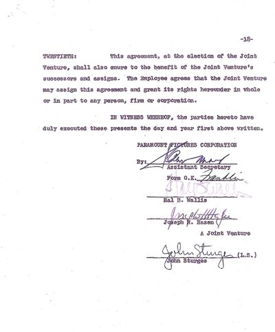 This 18 page contract details the agreement between Sturges and Paramount Pictures to direct the ver...