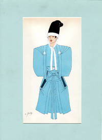 image of Emile Gallois: 31 Matted Japanese & Indonesian costume prints from 'Costumes Japonais et Indonesiens' by Emile Gallois. Vitange Oriental Asian Gallois Manually Executed Pochoir Prints.