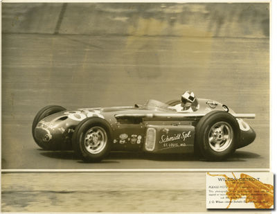 N.p.: N.p., 1957. Archive of 27 oversize, double weight photographs of Indy race cars, taken at the ...