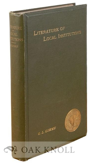 London: Elliot Stock, 1886. original green cloth, beveled edges. Book Lover's Library. small 8vo. or...