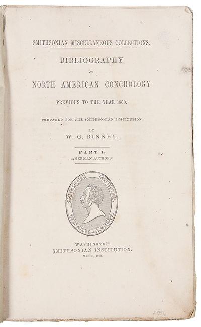 Washington: Smithsonian Institution, 1863. Large octavo. (9 5/8 x 6 1/8 inches). vii, , 650pp. Origi...