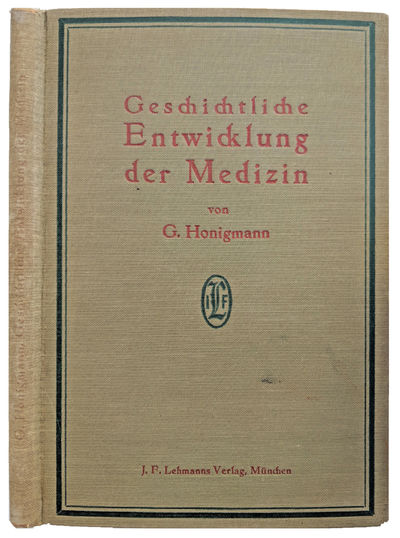 Munich:: J. F. Lehmanns, 1925., 1925. 8vo. 132, pp. Index. Olive green- and red-stamped cloth; spine...