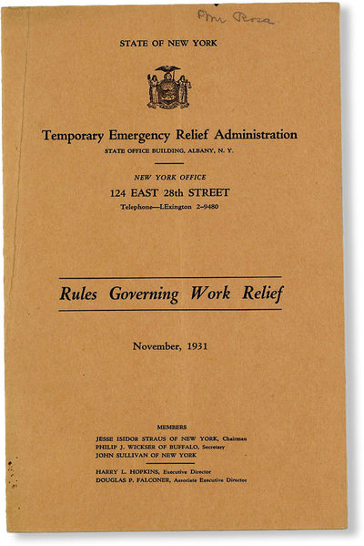 Albany: Temporary Emergency Relief Administration, 1931. First Edition. Octavo (23.5cm.); publisher'...