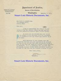 Bureau Of Investigation Director William Burns Writes To A Prospective Agent