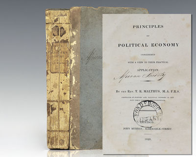 London: John Murray, 1820. First edition of this classic work regarding nature of labor, demand and ...