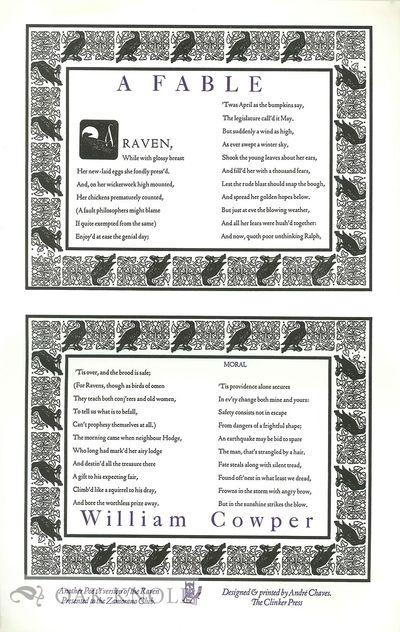 n.p.: Clinker Press, The, n.d.. broadside. Clinker Press. folio. broadside. Privately designed and p...