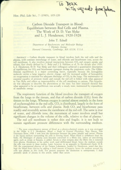 1985. First edition. Edsall, John T. (1902-2002). Carbon dioxide transport in blood: Equilibrium bet...