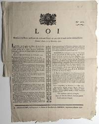 Broadside legal proclamation on the debt of the clergy: Loi Relative à la dette...