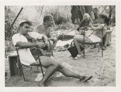 N.p.: N.p., 1953. Vintage reference photograph of (L-R) Henri-Georges Clouzot, Charles Vanel, uniden...