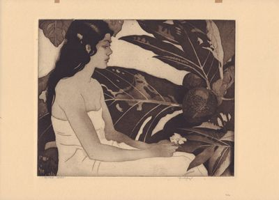 Etching of a Hawaiian woman. Nice virgin image, never framed. Hinges to top edge. Full margined 9 3/...