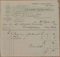 FABBRICA DI BIANCHERIA PER UOMO CESARE SIGNORELLI ROMA 11 LUGLIO 1907
