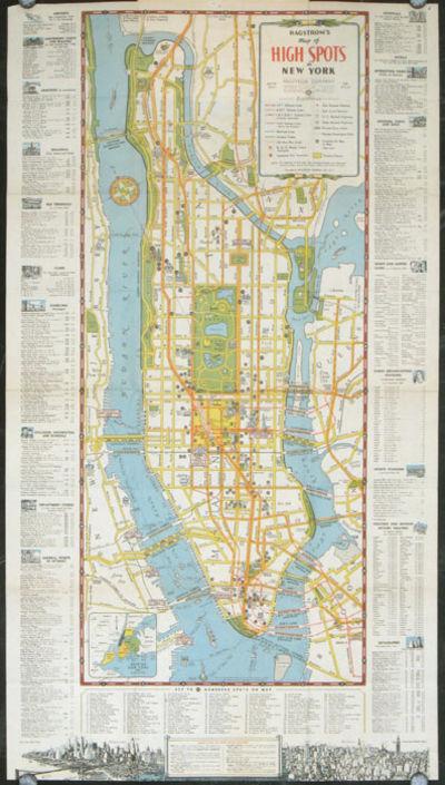 Map Of New York City For Tourists.Hagstrom S Map Of High Spots In New York By New York City Ca 1940 From Oldimprints Com And Biblio Com