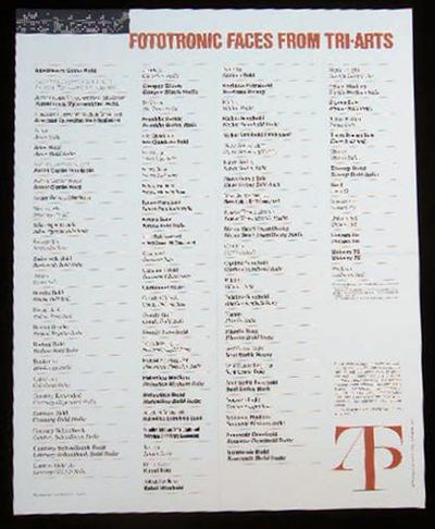 New York, NY: Tri-Arts Press, Inc. Poster with type face specimens in 18 point, printed black on cre...