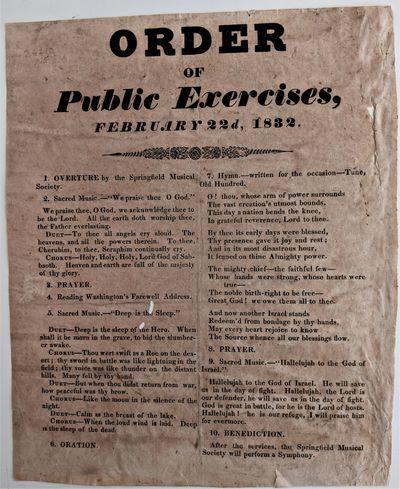 N.p., (Springfield, Massachusetts?), 1832. Small folio broadside. 290 x 235 mm., . Paper stock toned...