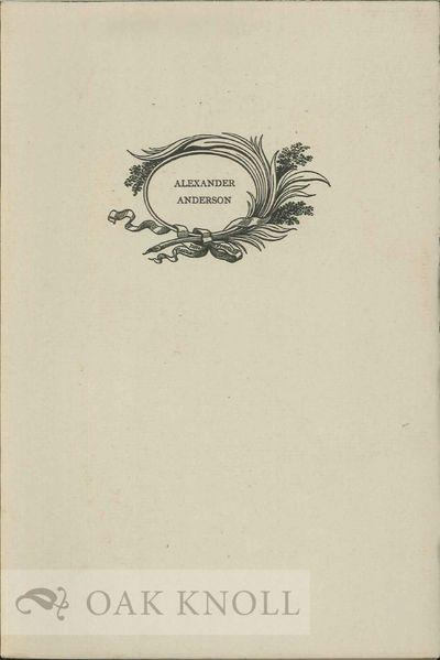Princeton: Princeton University Press, 1940. stiff paper wrappers. Anderson, Alexander. 8vo. stiff p...