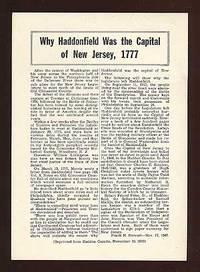 (Haddonfield NJ): Haddon Gazette, 1947. Unbound. Small broadsheet. Approximately 5.5