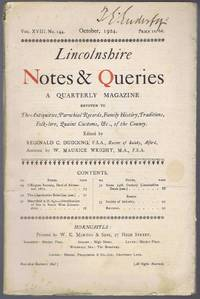 Lincolnshire Notes and Queries, A Quarterly Magazine, Vol XVIII, No. 144, October 1924