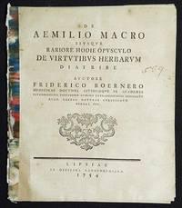 image of De Aemilio Macro eiusque Rariore Hodie Opusculo de Vitutibus Herbarum Diatribe auctore Friderico Boernero