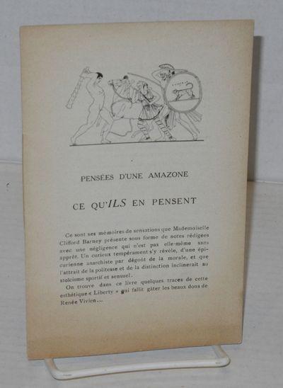 Paris: Émile-Paul Frères, Éditeurs, 1921. Paperback. 24p., 4.5x7 inches, brochure quoting reviews...