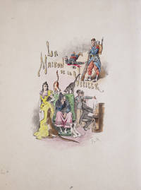 "Watercolour of title-page ""LA MAISON DE LA VIEILLE."" Title done in gold. 4 cats and a kangaroo looking at an old seated lady, lady standing by. Soldier above"