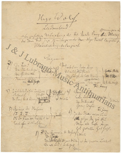 Autograph Draft Of A Concert Program For A Recital Of Wolfu0027s Songs At The  Saal Bösendorfer In Vienna Pn April 3, 1894 1 Page. Large Quarto.