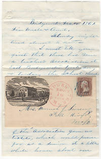 Letter reporting on a two-day teacher's association conference that was mailed in an illustrated envelope featuring the two-story Bridgewater Normal School, the first building in the United States specifically built for the education and preparation of future teachers
