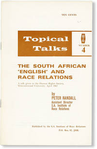 image of The South African 'English' and Race Relations. A talk given to the Human Rights Society, Witwatersrand University, April 1967